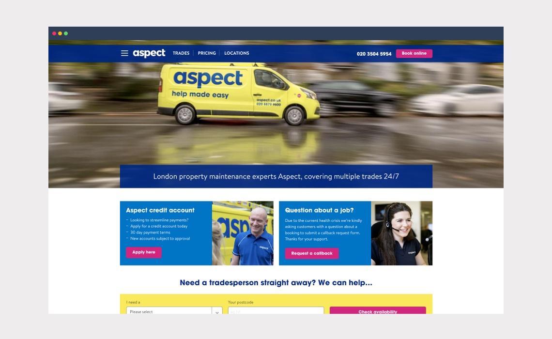 Aspect – landing page design