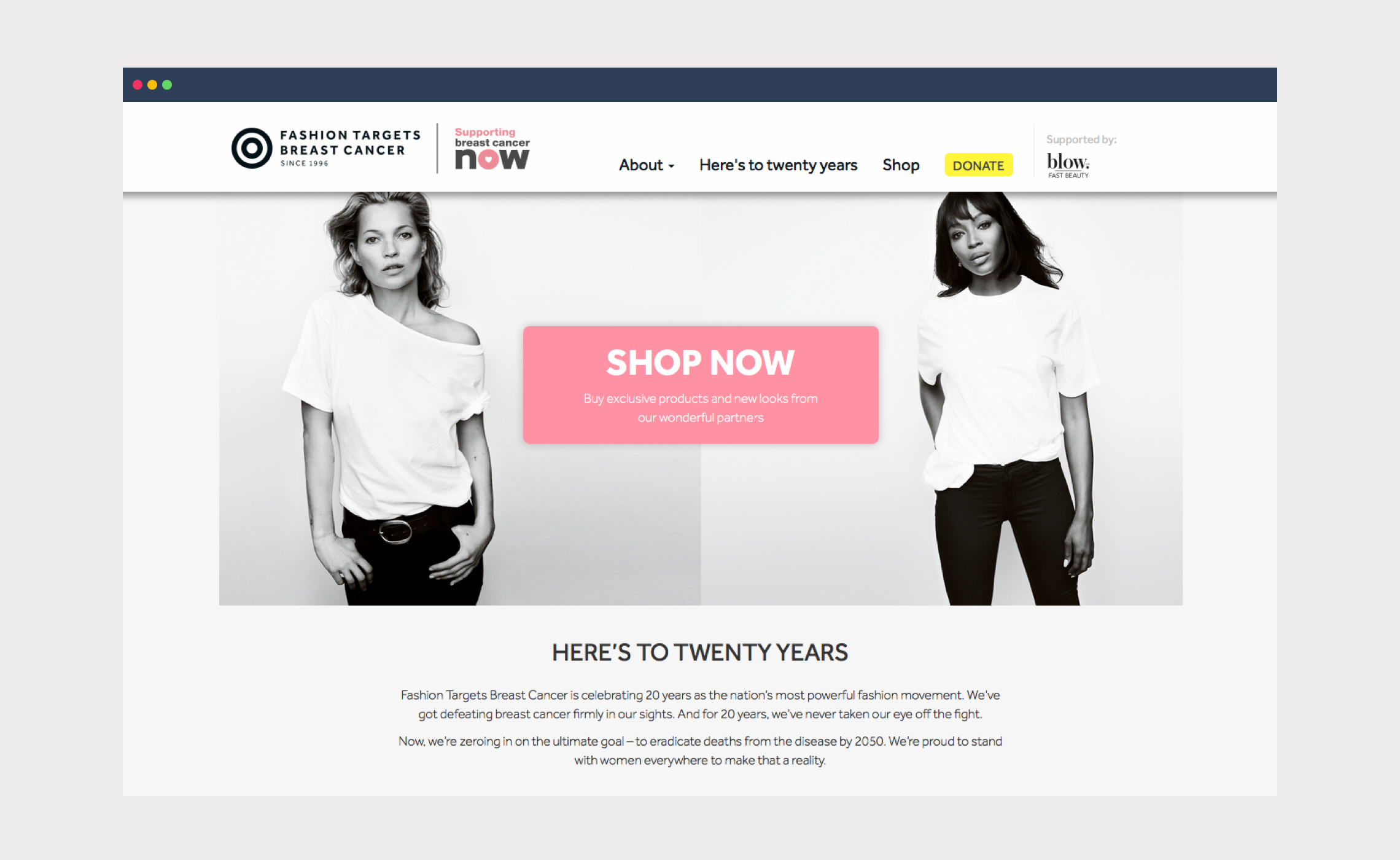 Fashion Targets Breast Cancer – website home
