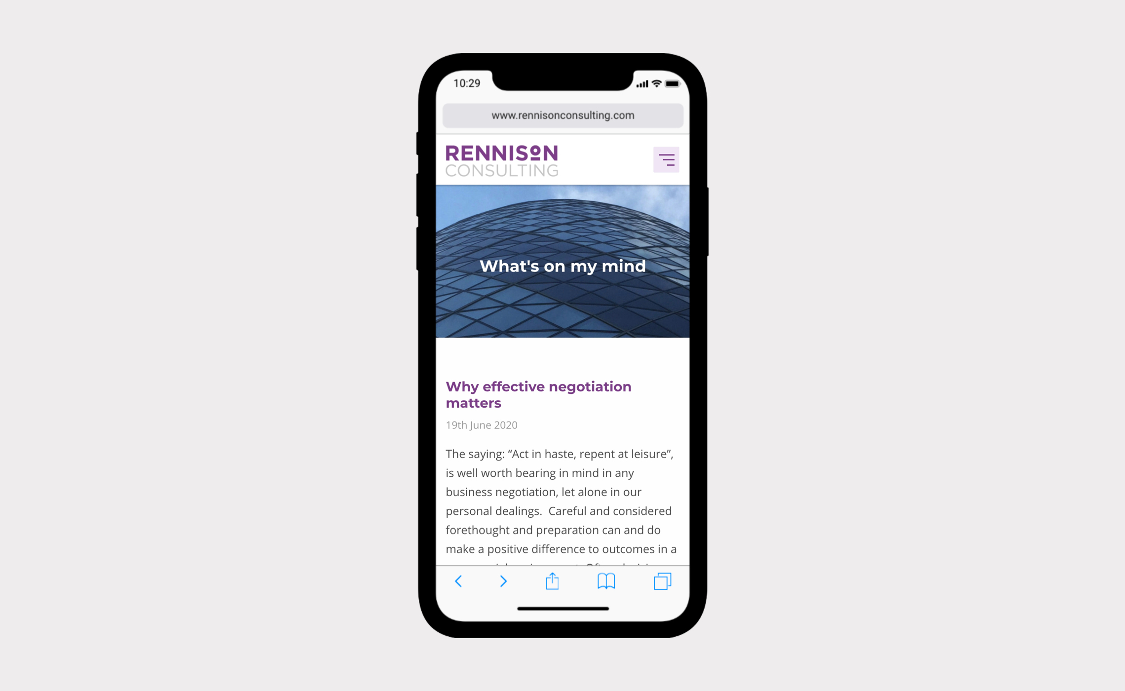 Rennison Consulting – website on mobile